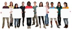 Group of young multi ethnic people holding copyspace for six letter or text Stock Photos