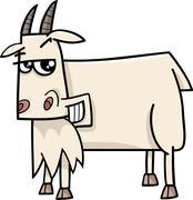 goat farm animal cartoon - stock illustration