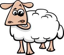 sheep farm animal cartoon - stock illustration
