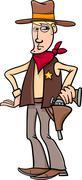 sheriff cowboy cartoon - stock illustration
