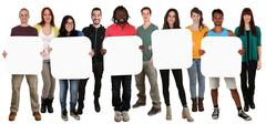 Group of young multi ethnic people holding copyspace for five letter or text - stock photo