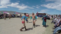 Mongolian wrestling to celebrate the national holiday of Naadam, Tsagaanuur - stock footage