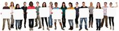 Group of young multi ethnic people holding copyspace for nine letter or text Stock Photos