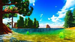 Forested shore over ocean Stock Illustration