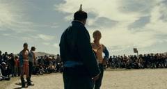 Mongolian wrestling to celebrate the national holiday of Naadam, Tsagaanuur Stock Footage