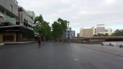 Cycling near river POV Stock Footage