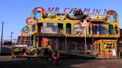 Amusement park. People enjoying amusements. Stock Footage