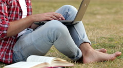 Smart guy studing outdoors Stock Footage