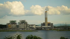 Stock Video Footage of Duke Energy Coal Power Plant, Asheville, North Carolina, Slow Zoom