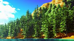 Forested shore over ocean - stock illustration