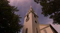 Wide high angle of church amidst trees Stock Footage