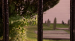 Graves and Iron Fence Stock Footage