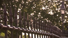 Static wrought iron fence Stock Footage