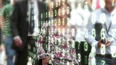 People in slow motion overlaid by binary code and numbers. Stock Footage
