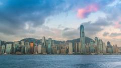 Time Lapse Hong Kong Cityscape Night To Day (time lapse) Stock Footage