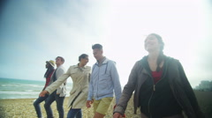 4k Happy mixed ethnicity group of friends having fun at the beach Stock Footage