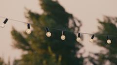 Garland of light bulbs. Wedding decorations Stock Footage