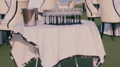Champagne glasses and ice bucket Stock Footage