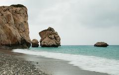 Rock of Aphrodite, Paphos, Cyprus - stock photo