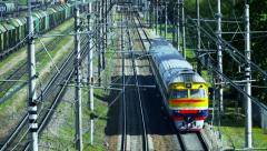 Retro passenger train. Made in the USSR. Shot from above Stock Footage