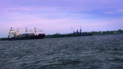 Container ships at sunset. Background - coal transshipment Stock Footage