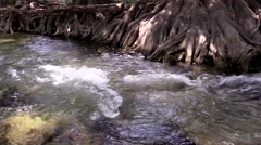 Water running down stream close up Stock Footage