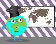 Cartoon Globe teaches geography Stock Illustration