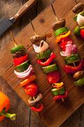 Organic Homemade Vegetable Shish Kababs - stock photo