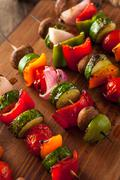 Organic Homemade Vegetable Shish Kababs Stock Photos