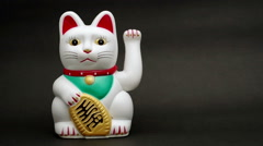 Lucky or fortune cat waving Stock Footage