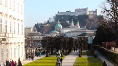 Salzburg Park and Fortress - stock footage