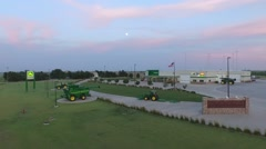 John Deere Dealership - Sunset - Aerial.mp4 - stock footage