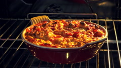 Stock Video Footage of Apple and berries crumble in oven 2 - End of cook