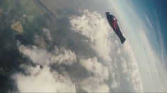 Wingsuit skydiving - stock footage