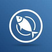 Fish menu icon logo seafood fork tuna vector Stock Illustration