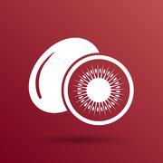 Kiwi fruits closeup icon isolated art logo design Stock Illustration