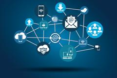 Graphic Vector Network Communication blue - stock illustration