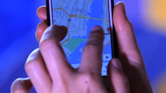 Using A Smartphone - Close Up Shot. App. GPS. Selecting adress, NY map Stock Footage