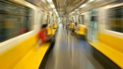 Rush through empty metro train, motion blur, POV timelapse Stock Footage