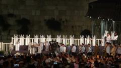 65 Bible Torah scrolls inaugurated in Western Wall Stock Footage