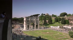 ULTRA HD 4K real time shot,Ruins of Colosseum and Constantine's Arch in Rome Stock Footage
