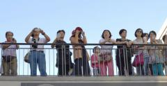 Group of Asian tourists takes pictures in Hollywood, California. Arkistovideo