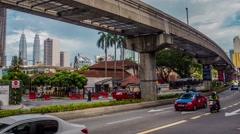 Petronas Towers And Monorail Train Kuala Lumpur Malaysia Time Lapse Stock Footage