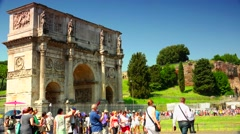 ULTRA HD 4K real time shot,Ruins of Colosseum and Constantine's Arch in Rome - stock footage