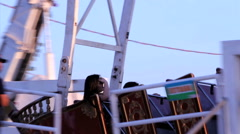 Amusement fair park with viking boat Stock Footage