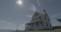Old House By Water with SUN and DOG - stock footage