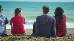 4k Back view of happy group of friends hanging out together at the beach Stock Footage