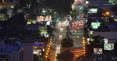 Aerial view of traffic in West Hollywood and Los Angeles at night. 4K timelapse Stock Footage