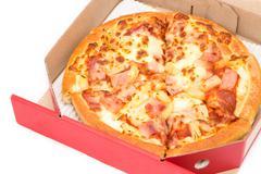 Hawaiian Pizza in red box isolate Stock Photos