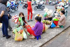 Street vendor sells food Stock Photos